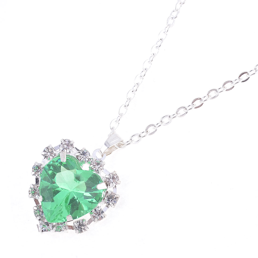 Woman Light Green Faux Crystal Heart Shape Pendant Silver Tone Necklace