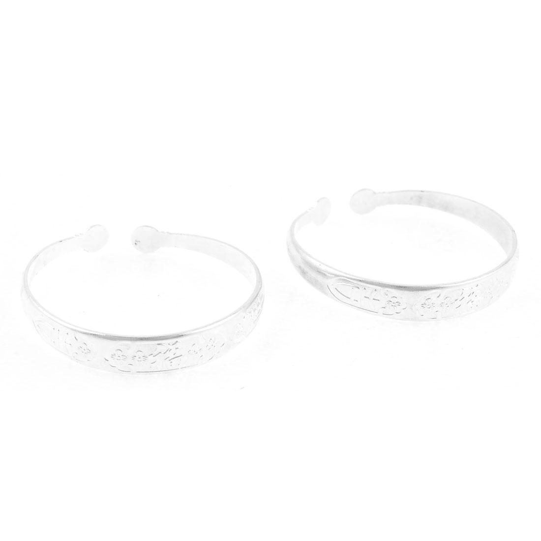 2 Pcs Floral Hanzi Pattern Metal Wrist Bracelet Silver Tone for Ladies