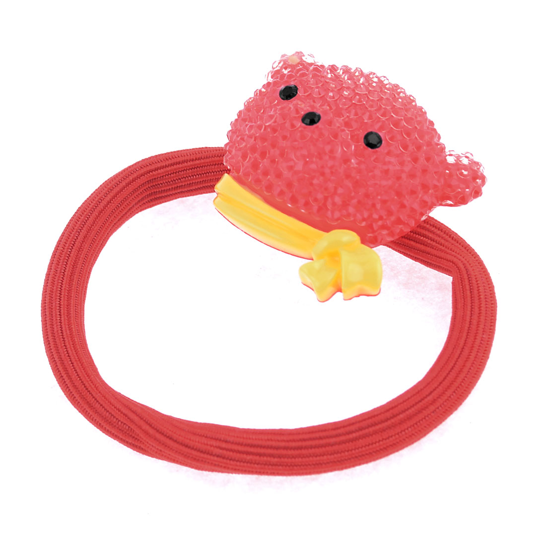 Girls Plastic Bear Decoration Elastic Hair Tie Band Ponytail Holder Red