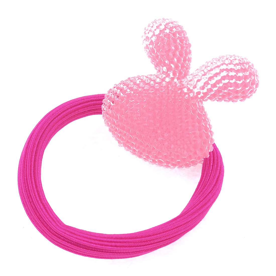 Girl Pink Plastic Rabbit Accent Elastic Hair Bands Ponytail Holder Fuchsia