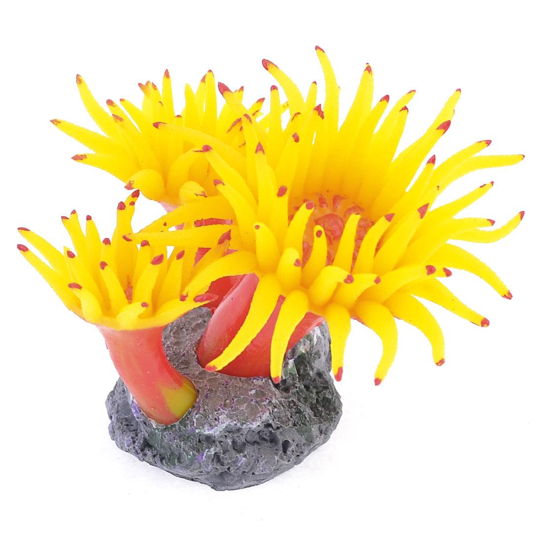 Concrete Base Yellow Silicone Coral Anemone Aquarium Plant Decoration