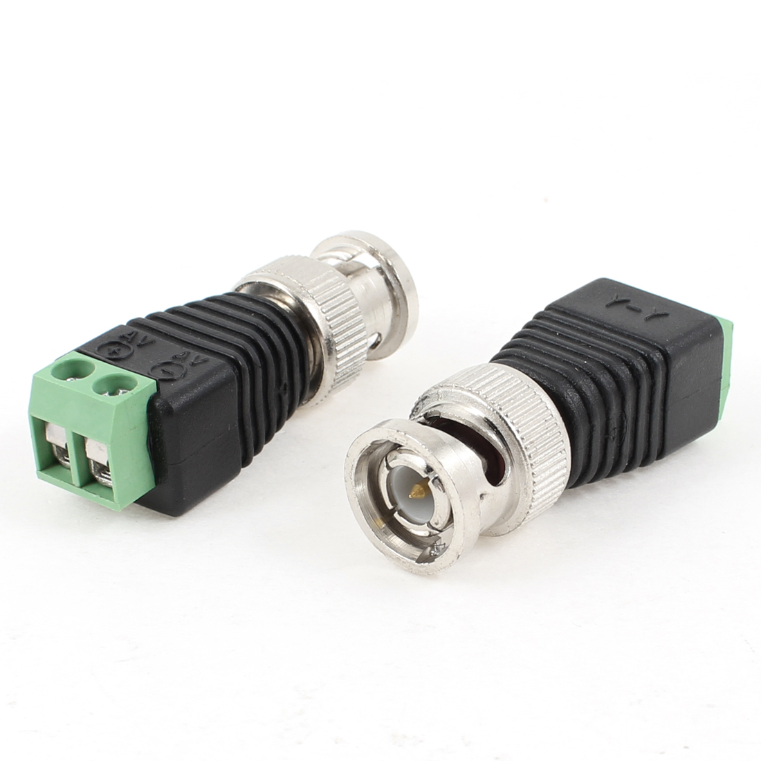 CCTV Video Camera BNC Male Connector Adapter Black Green 2 Pcs