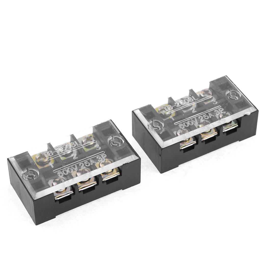 600V 25A Dual Row 3 Positions Barrier Screw Terminal Block Black 2 Pcs