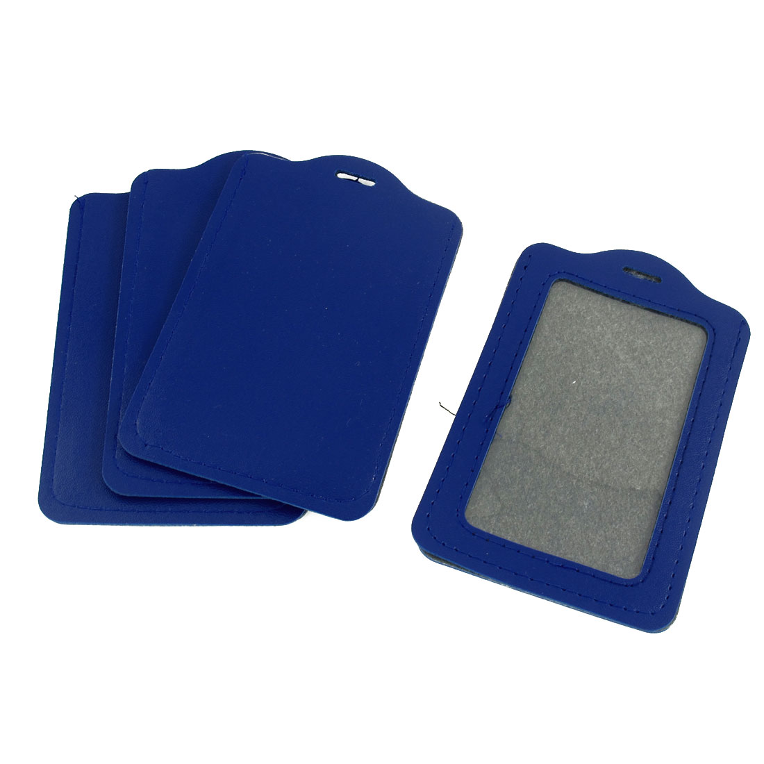 4 Pcs Blue Clear Faux Leather Vertical Business Name Badge Credit Card Holder