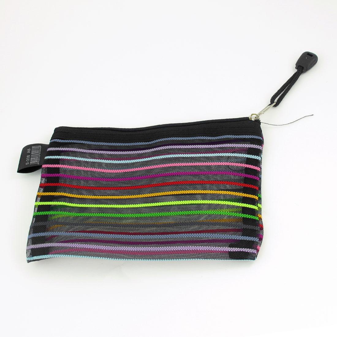 Zip up Multicolored Stripes Black Stationery File Bag Pocket