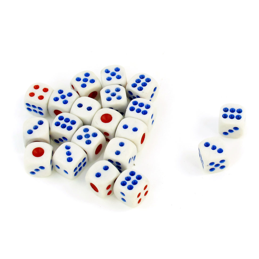 20 Pcs White Entertainment Guessing Game Cubical Red Blue Dot Dices Toy