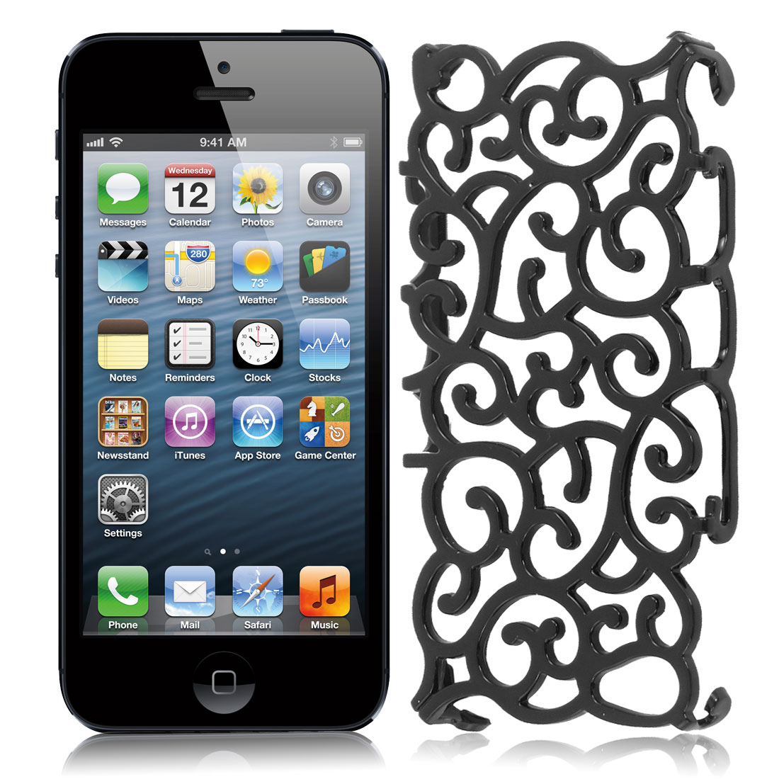 Black Hollow Out Palace Flower Hard Back Cover Case for iPhone 5 5G