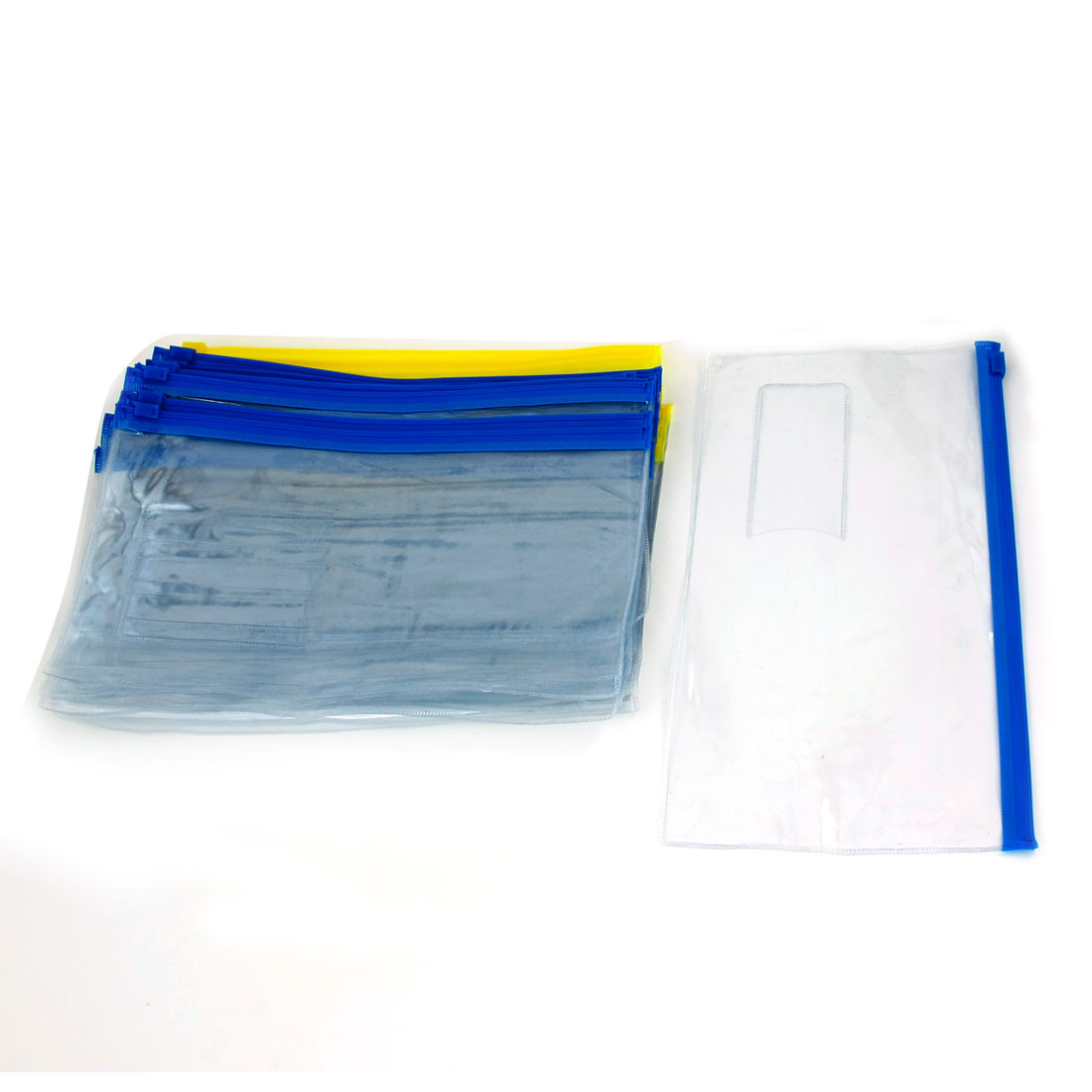30 Pcs B6 Paper Zipper Closure Bag Pocket Pen Files Folders Yellow Blue Clear
