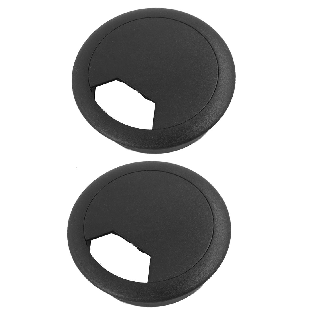 Computer Desk Plastic Grommets Wire Cord Cable Hole Cover Black 50mm Diameter 2 Pcs
