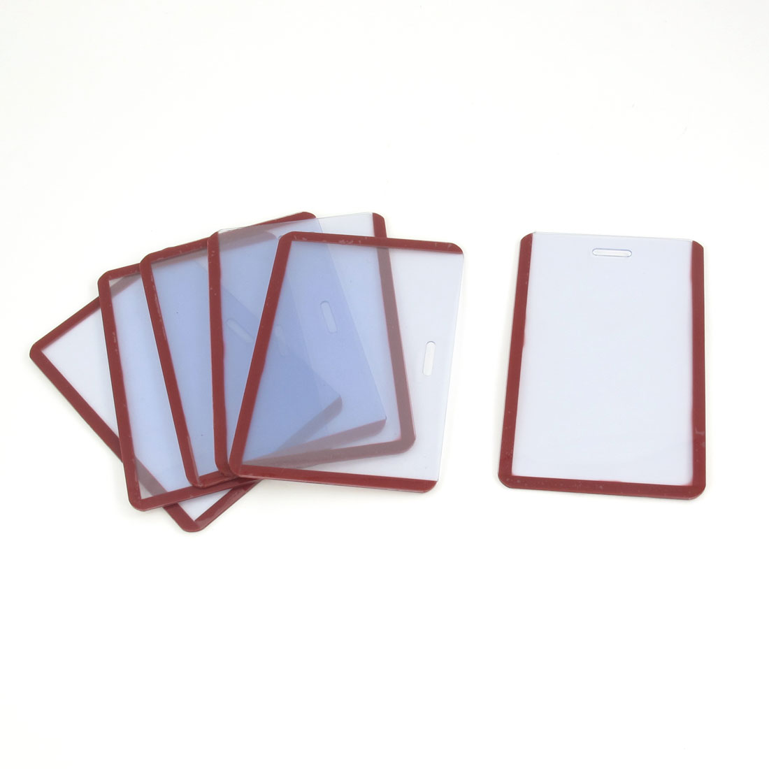 6 Pcs Clear Red Rim Soft Plastic Vertical B8 ID Card Guard Badge Holders
