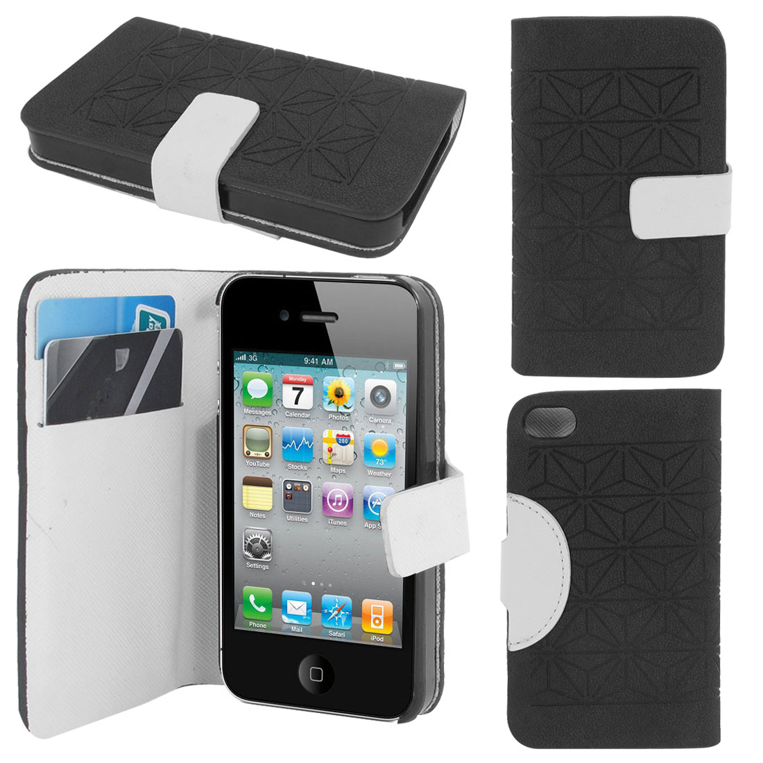 Gray Faux Leather Magnetic Flip Closure Cover Case for iPhone 4 4S