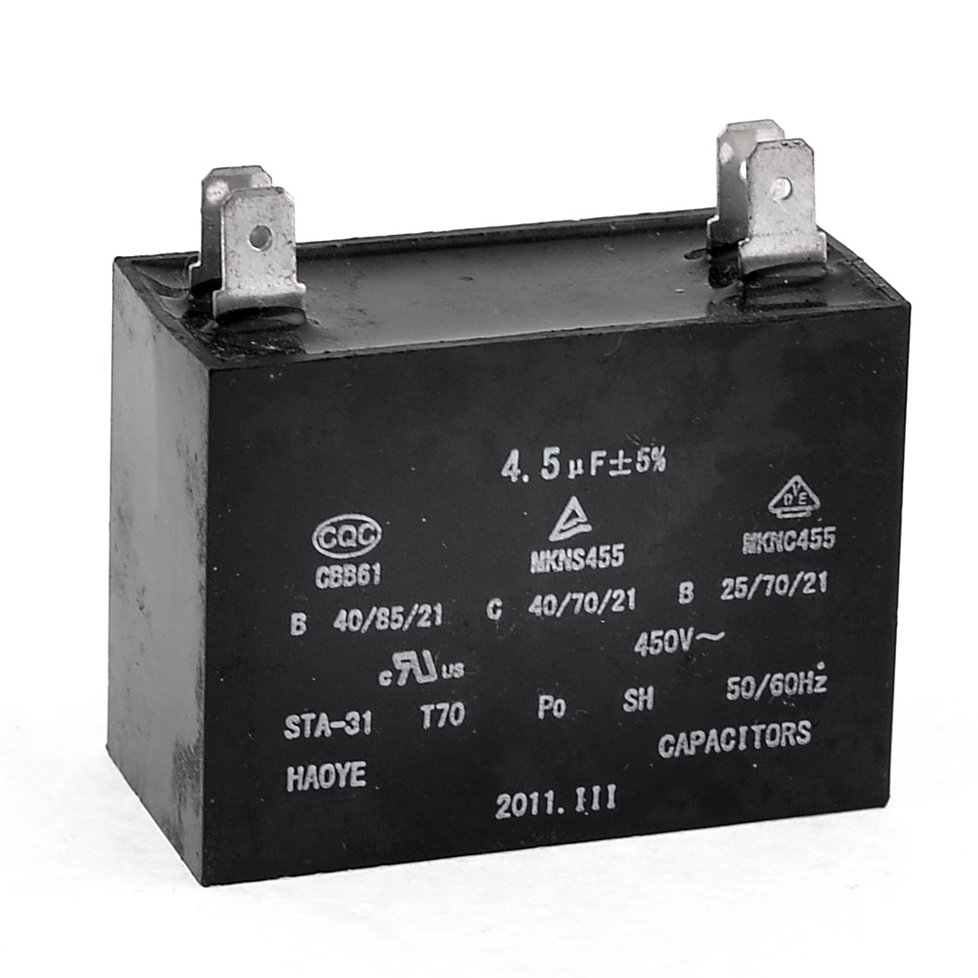 Polypropylene Film AC Motor Run Capacitor 4 Terminals 4.5uF 450V