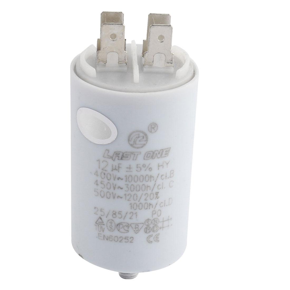 CBB60 AC 450V 12uF 8mm Thread Washing Machine Polypropylene Film Capacitor