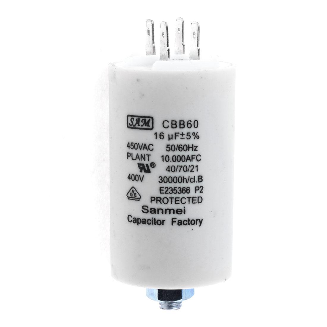 Washers White Motor Running Capacitor 16uF AC 450V CBB60