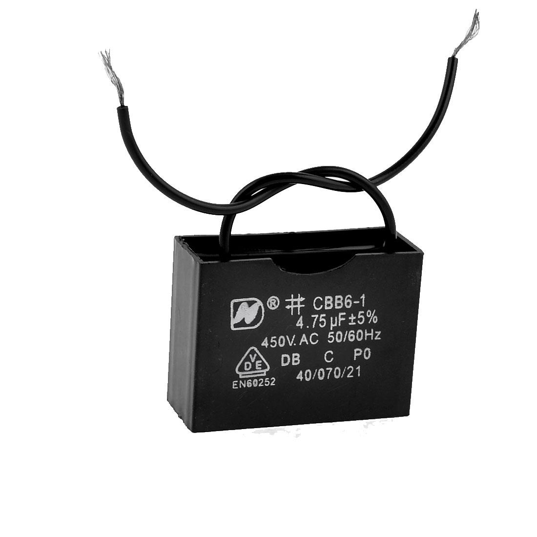 Repairing Part AC 450V 4.75uF 50/60Hz Motor Run Capacitor CBB61 Black