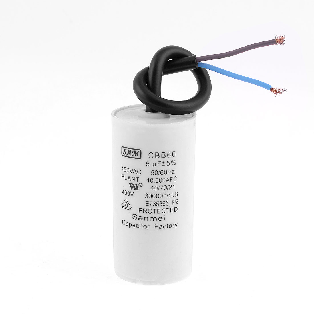 CBB60 450VAC 5uF Wired Motor Running Capacitor for Air Conditioner