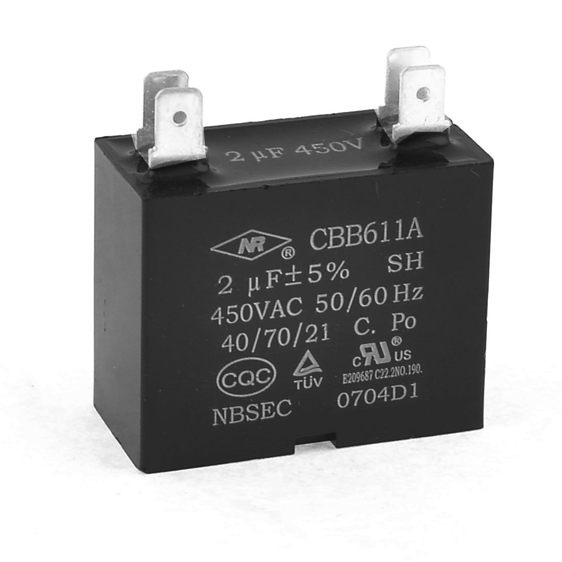 AC 450V 2uF 4 Pins Air Conditioner Motor Capacitor Black