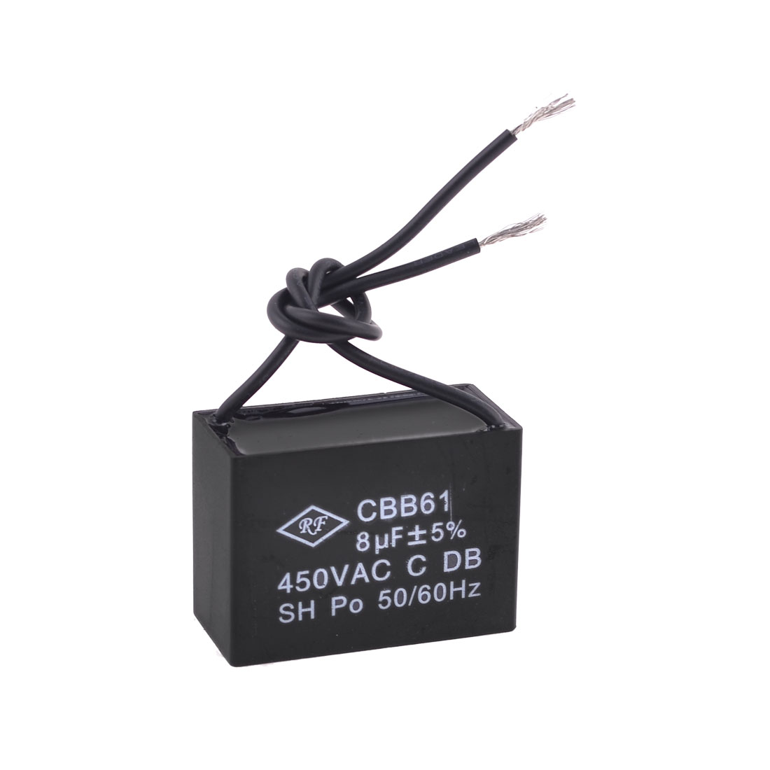CBB61 Polypropylene Film Coated 450VAC 8uF Motor Run Capacitor Black