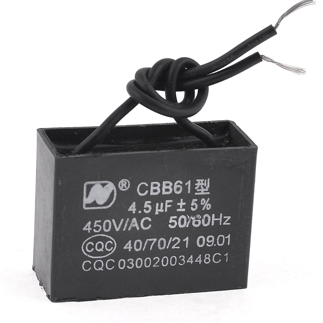 450VAC 4.5uF 50/60Hz Fan Motor Running Capacitor CBB61 Black