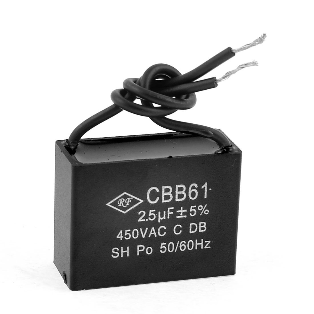 Ceiling Fan Capacitor CBB61 2.5uf MFD 450VAC 2 Wire 50/60Hz Black