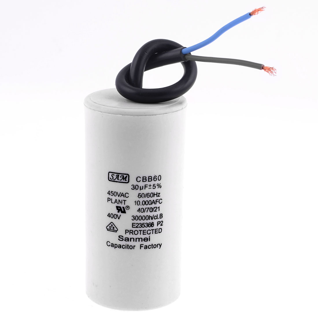 Washing Machine Polypropylene Film AC Motor Run Capacitor 30uF 450V CBB60