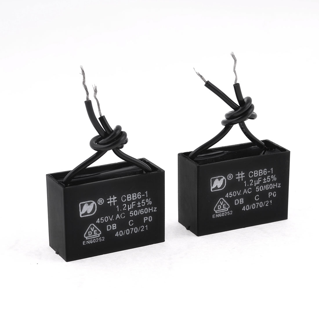 2 Pcs 1.2 uf MFD 450V AC 50/60Hz 2 Black Wire Electric Fan Capacitor CBB61