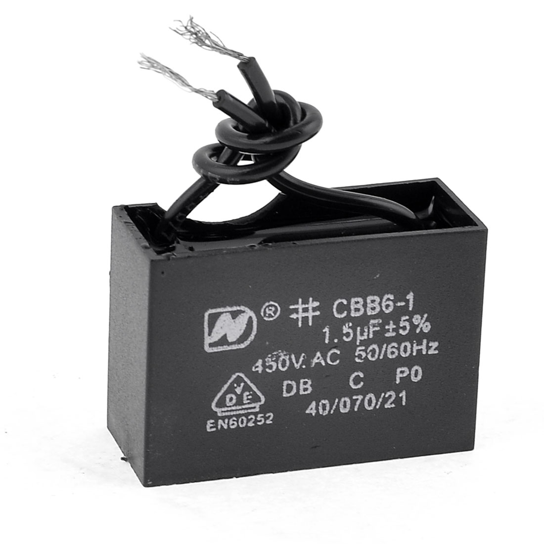 CBB61 AC 450V 1.5uF 5% Rectangle Motor Run Capacitor Black