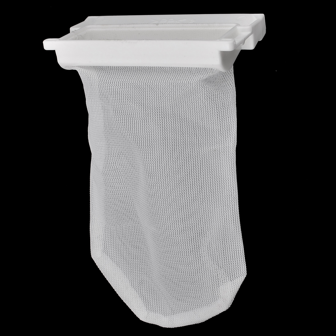 Washing Machine White Plastic Nylon Filter 11.5cm x 8cm Meshy Bag