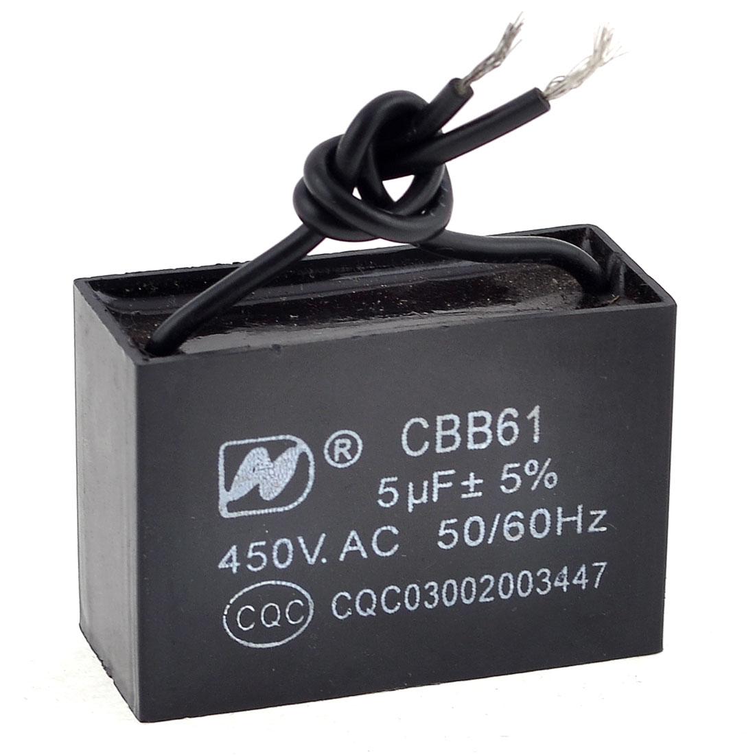 CBB61 Metalized Polypropylene Film Motor Run Capacitor AC 450V 5uF