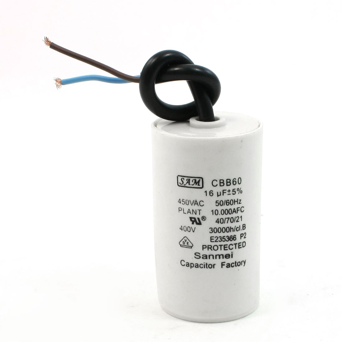 White Body Cleaning Machines 16uF AC450V Motor Run Capacitor CBB60