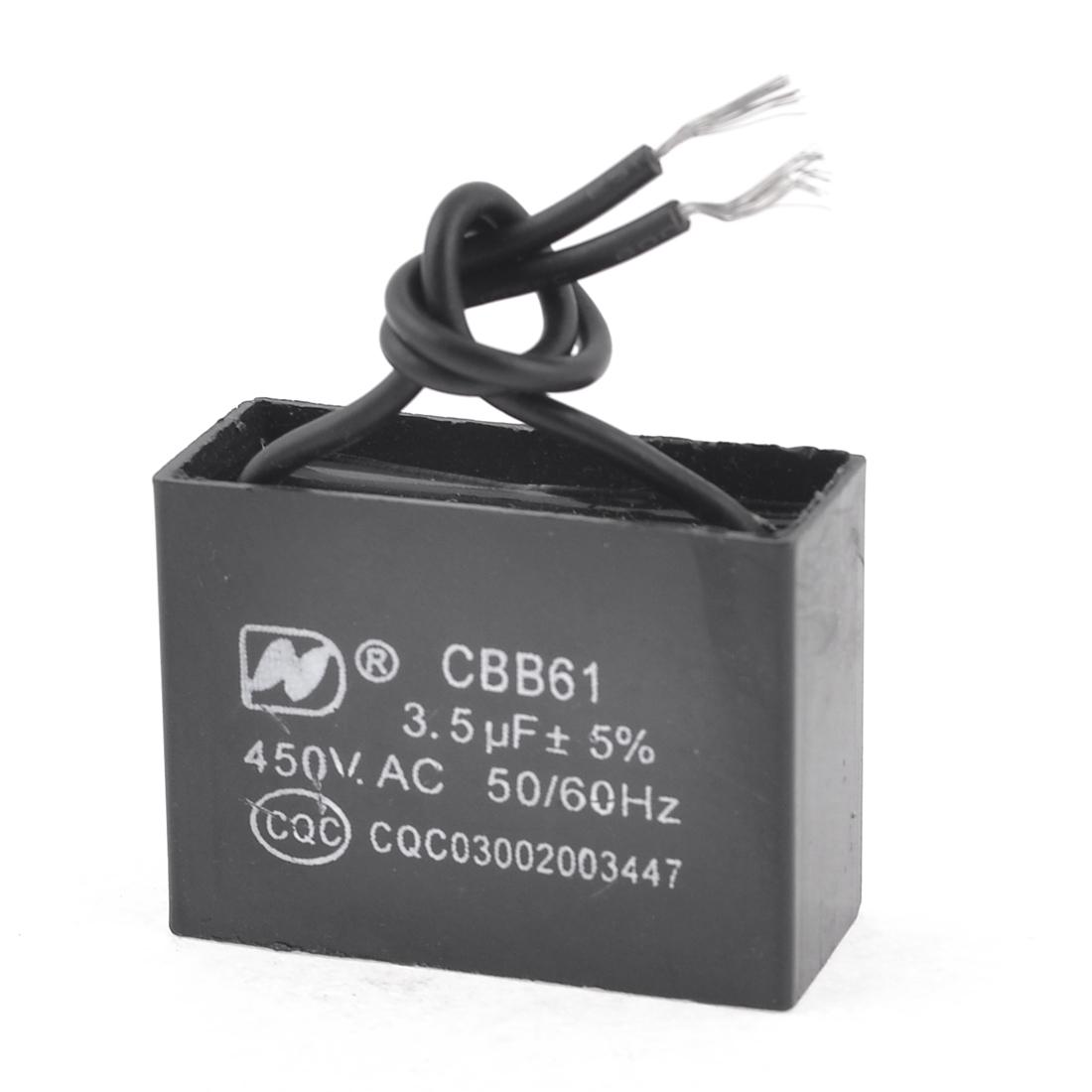 CBB61 Model Air Conditioner Fan Motor Running Capacitor 3.5uF AC 450V