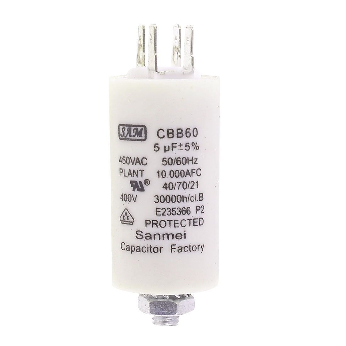 CBB60 AC 450V 5uF 8mm Thread Washing Machine Polypropylene Film Capacitor
