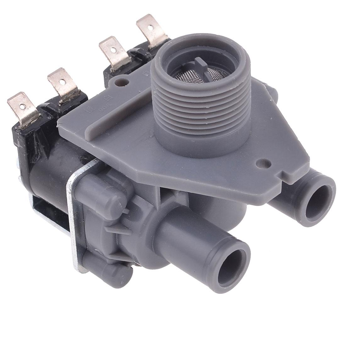 "AC 220-240V 1.1"" Thread Diameter Washing Machine Solenoid Valve Grey Black"