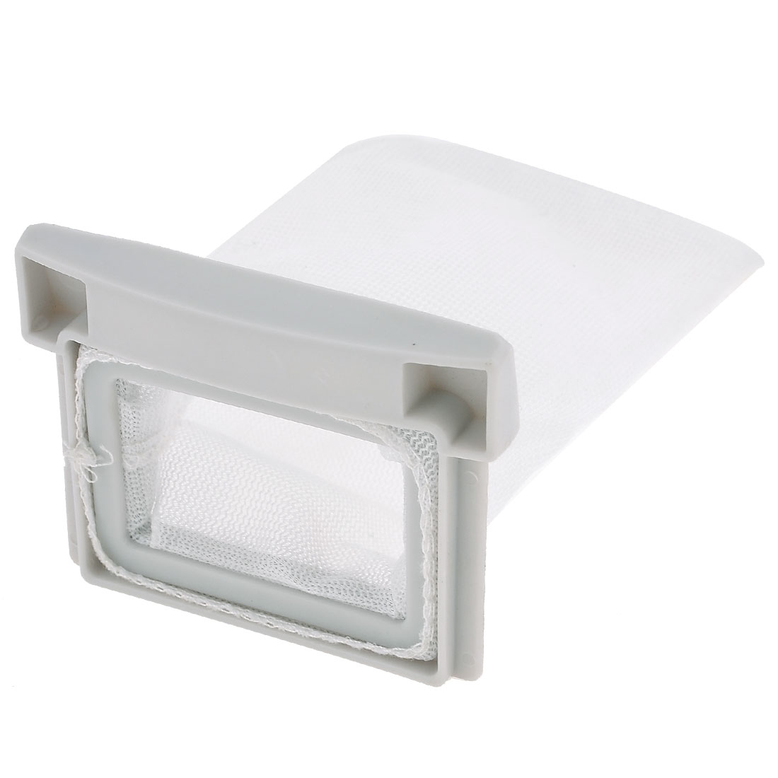 Washing Machine White Plastic Nylon Filter 10.5cm x 7cm Meshy Bag