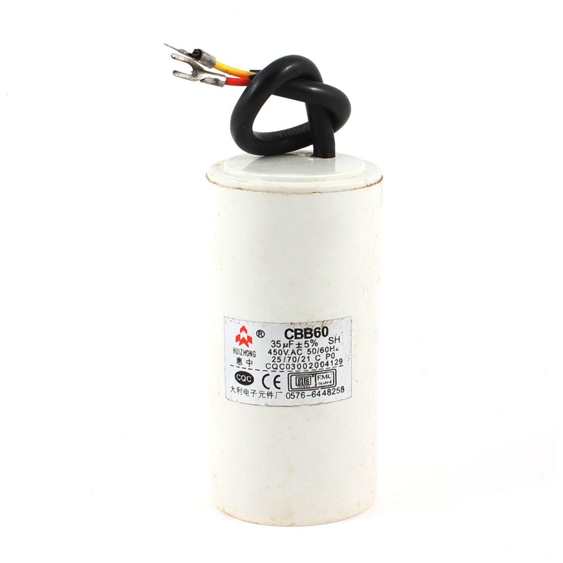 CBB60 AC 450V 35uF Cylindrical Non Polar Motor Capacitor White