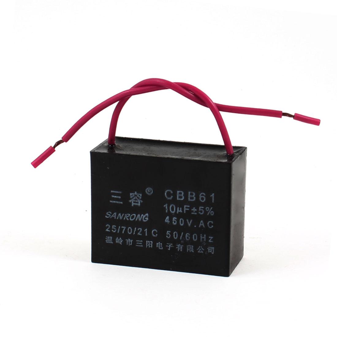 CBB61 10uF AC 450V Rectangle Non Polar Motor Running Capacitor