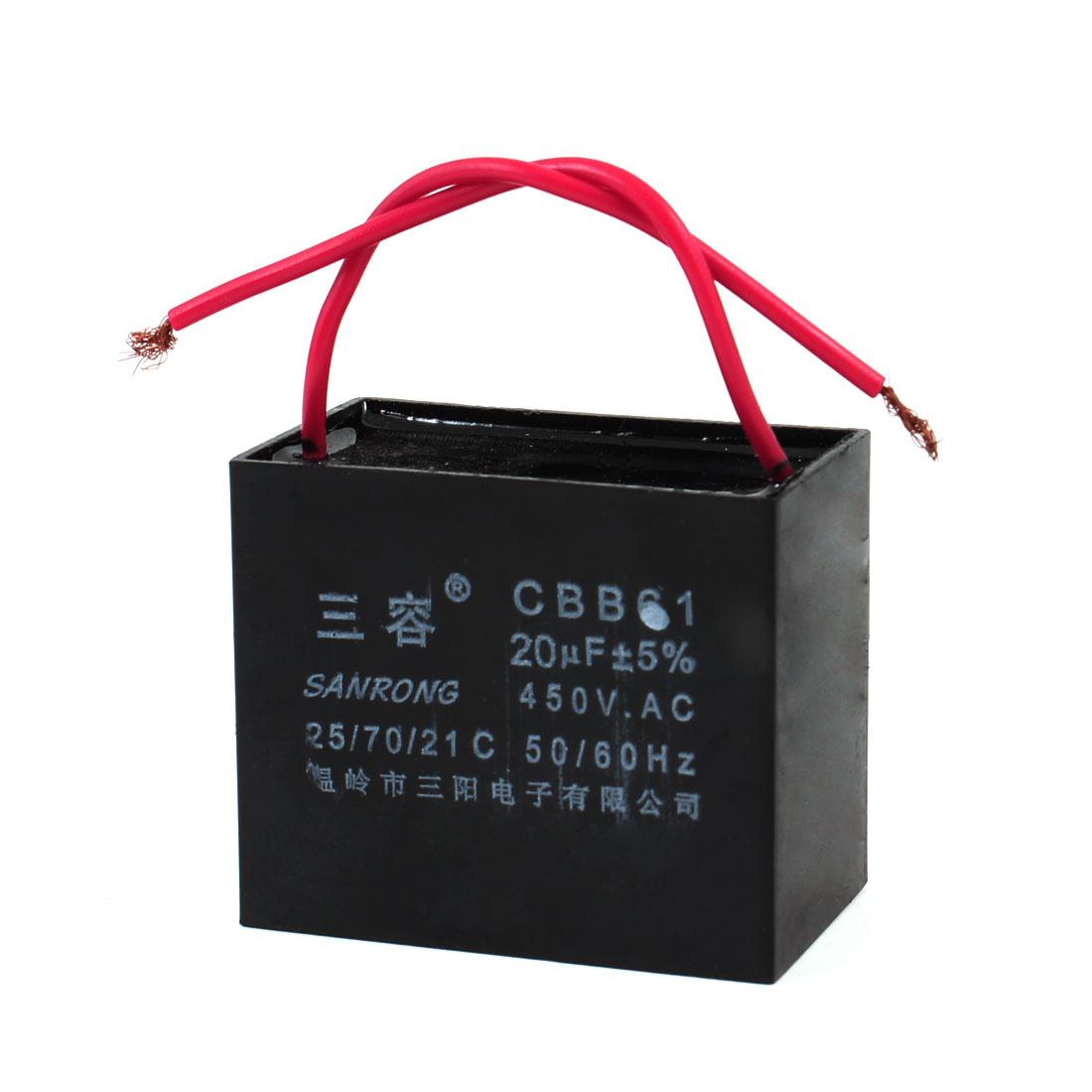 CBB61 20uF AC 450V Rectangle Non Polar Motor Running Capacitor