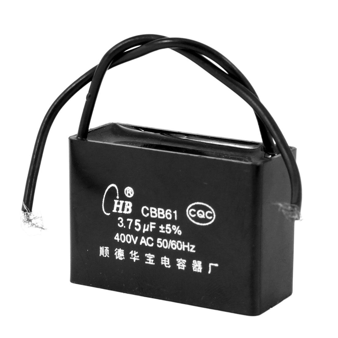 CBB61 3.75uF AC 400V Rectangle Non Polar Motor Run Capacitor