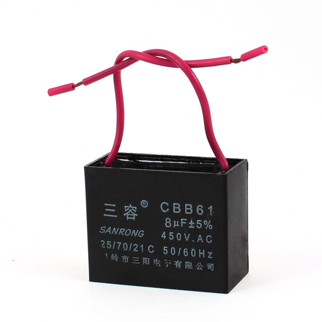 CBB61 8uF AC 450V Rectangle Non Polar Motor Run Capacitor