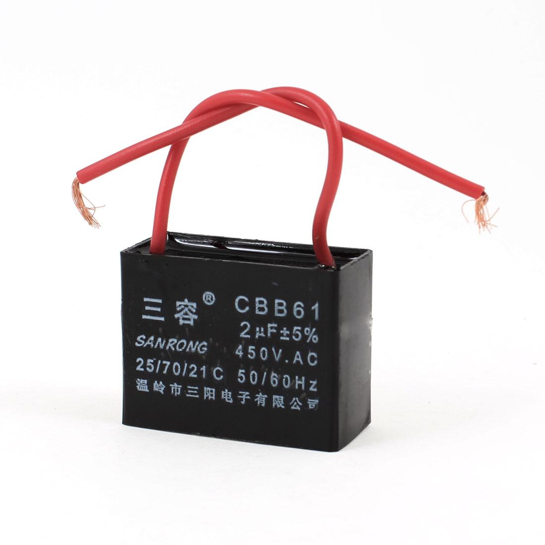 CBB61 2uF AC 450V Rectangle Non Polar Motor Capacitor