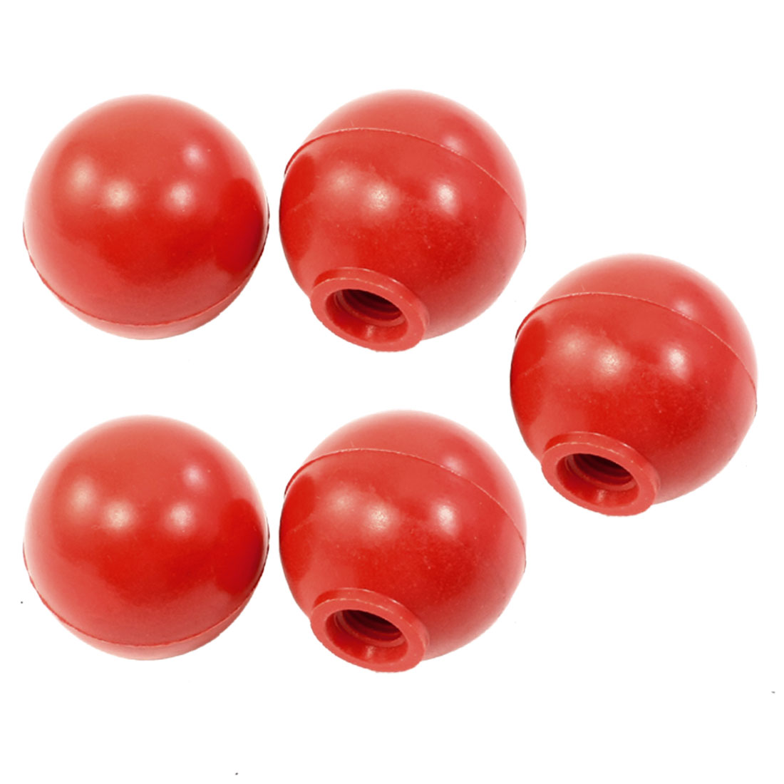 5Pcs Red Threaded Ball Knob 38mm Dia 10mm Bore for Joystick Machine Handle