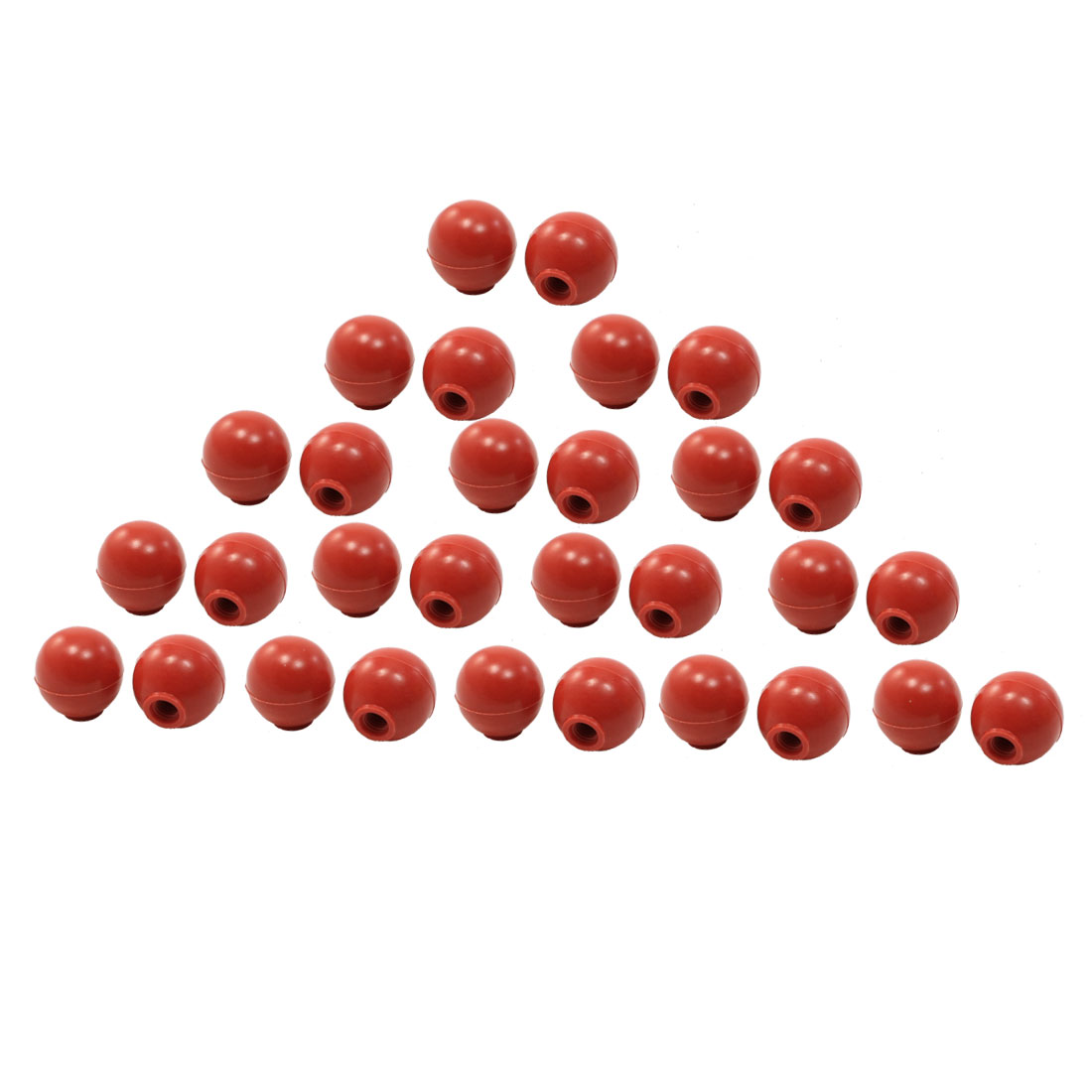 30 Pcs Machine Control Handle Threaded Ball Knob Red 38mm Dia 10mm Hole