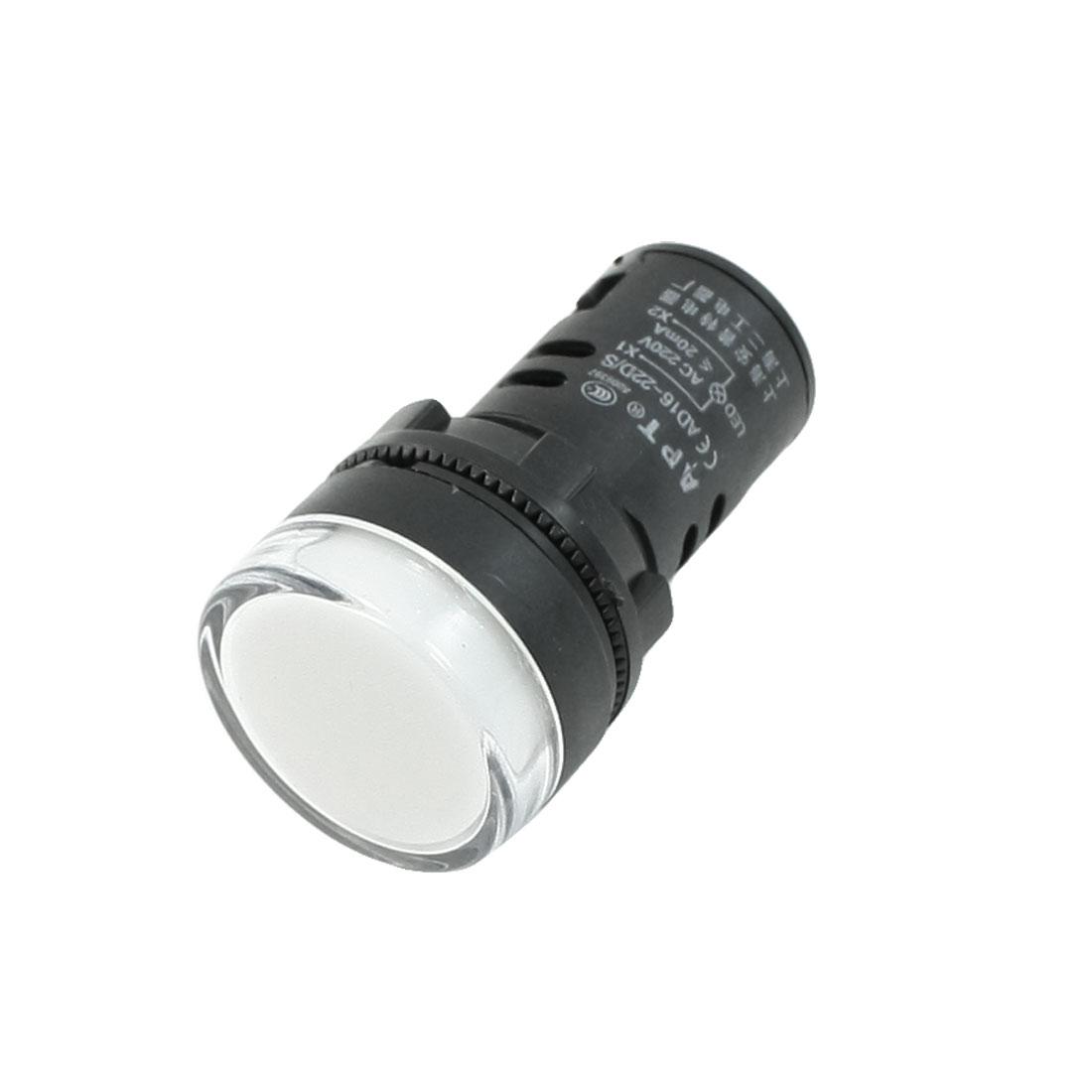 """AC220V 20mA Max Current 1.1"""" Diameter Cap White LED Pilot Light AD16-22D/S"""