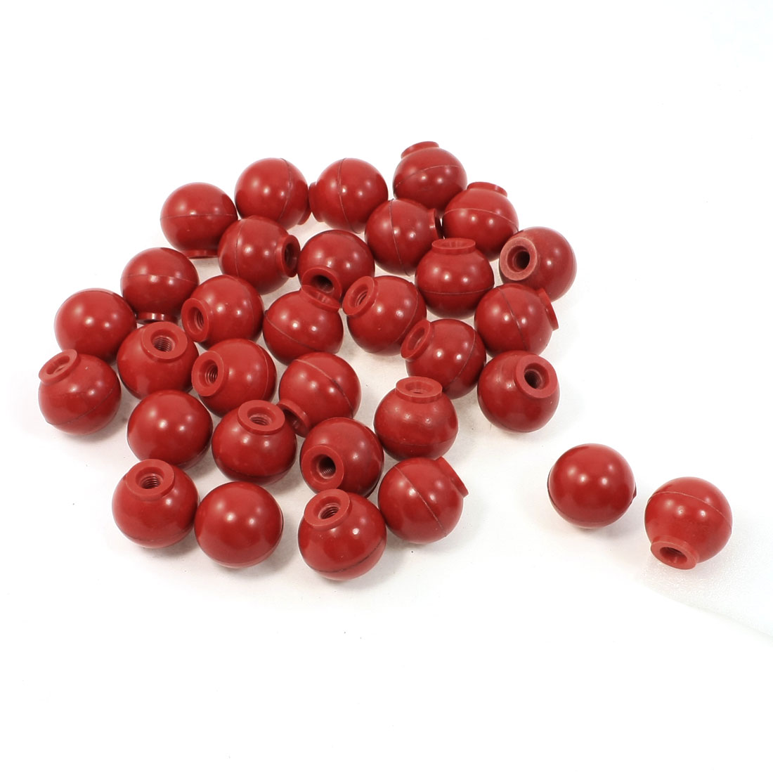 32 Pcs Ball Shape Machine Control Handle Threaded Knob Red 32mm Dia 8mm Bore