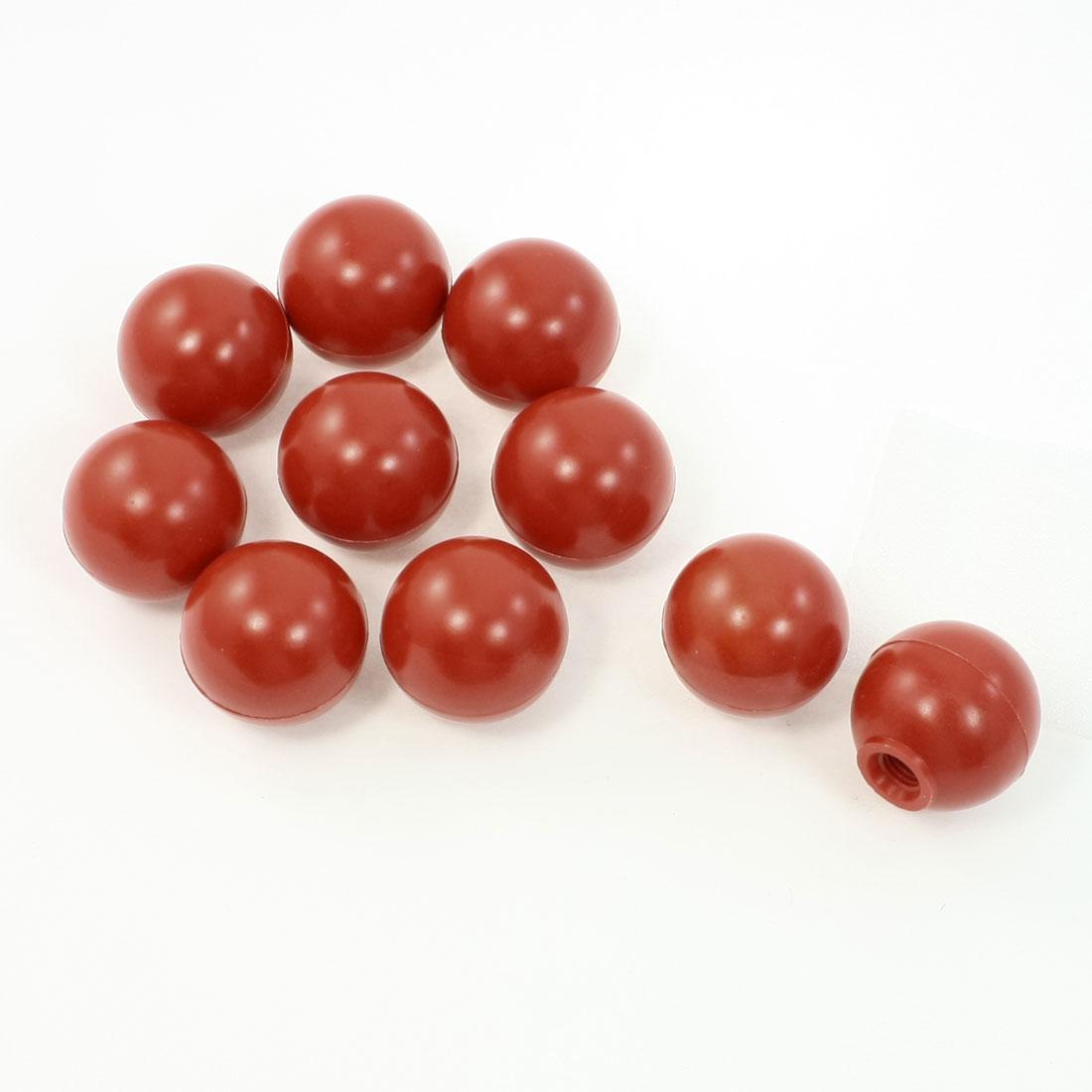 10Pcs Threaded Joystick Ball Knob Machine Control Handle Red 38mm Dia 10mm Bore