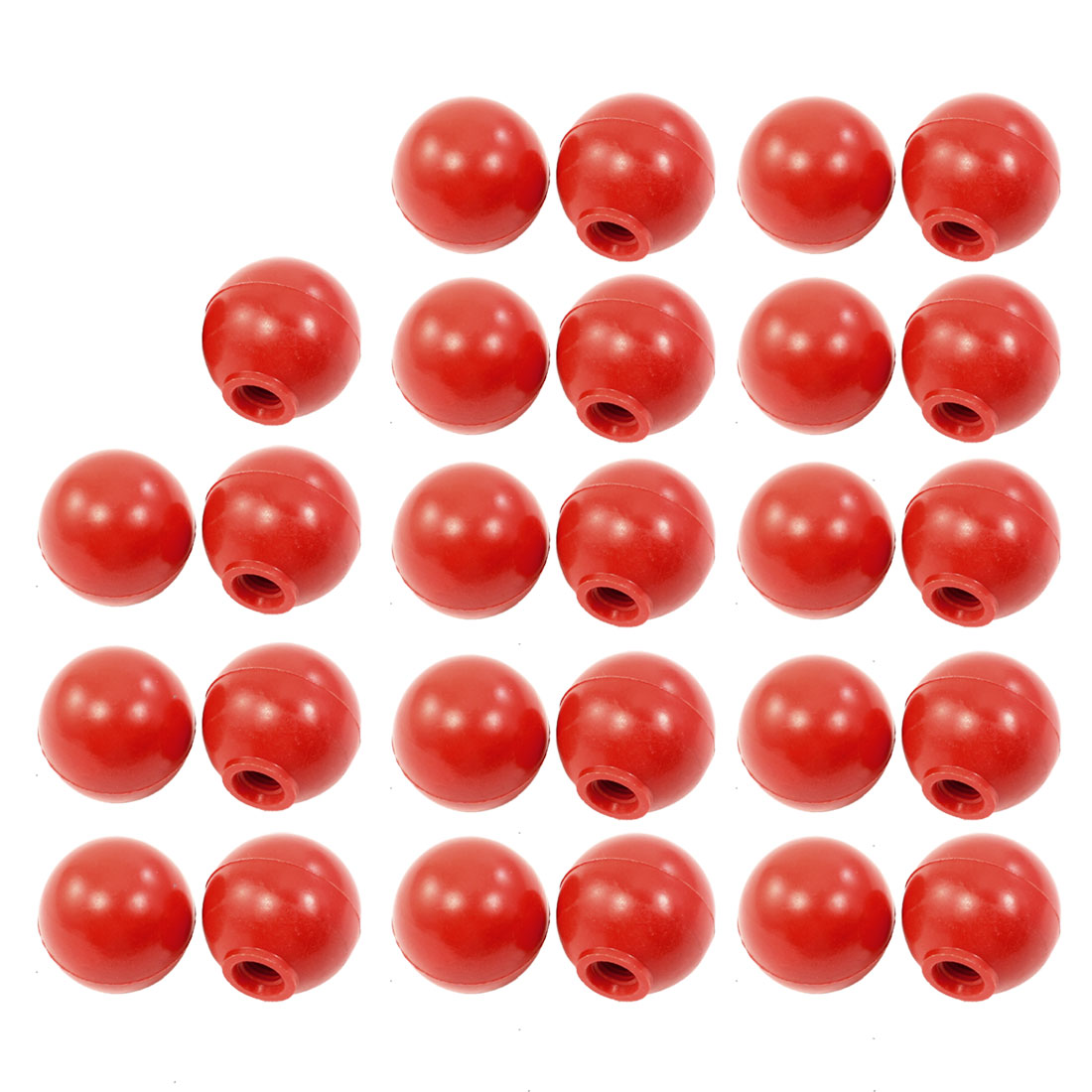 "37 Pcs 0.24"" Moulded Thread 28mm Dia Handling Ball Knobs Red for Machine"