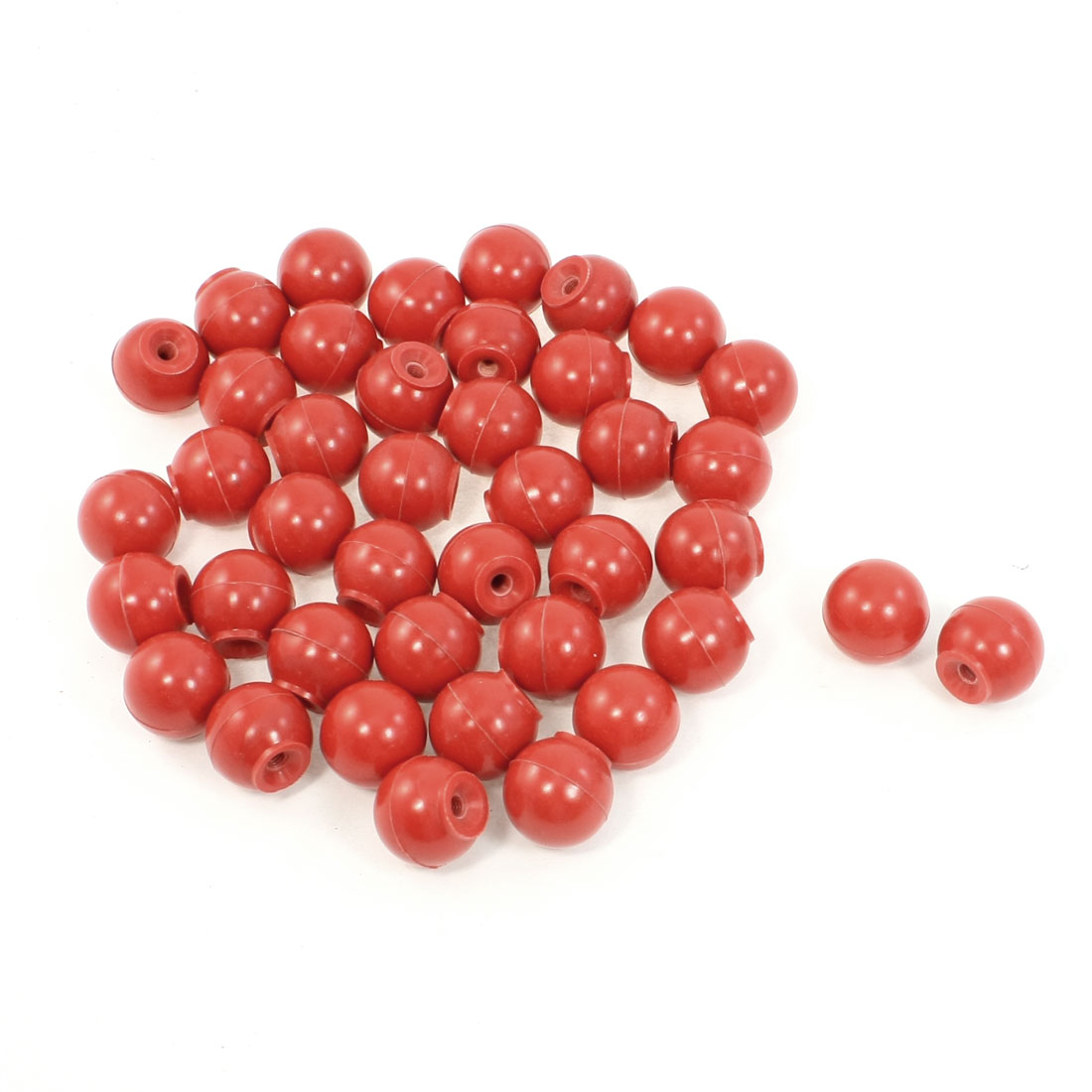 40Pcs 6mm Dia Threaded Red Plastic Ball Knob Round Handle for Machine Tool