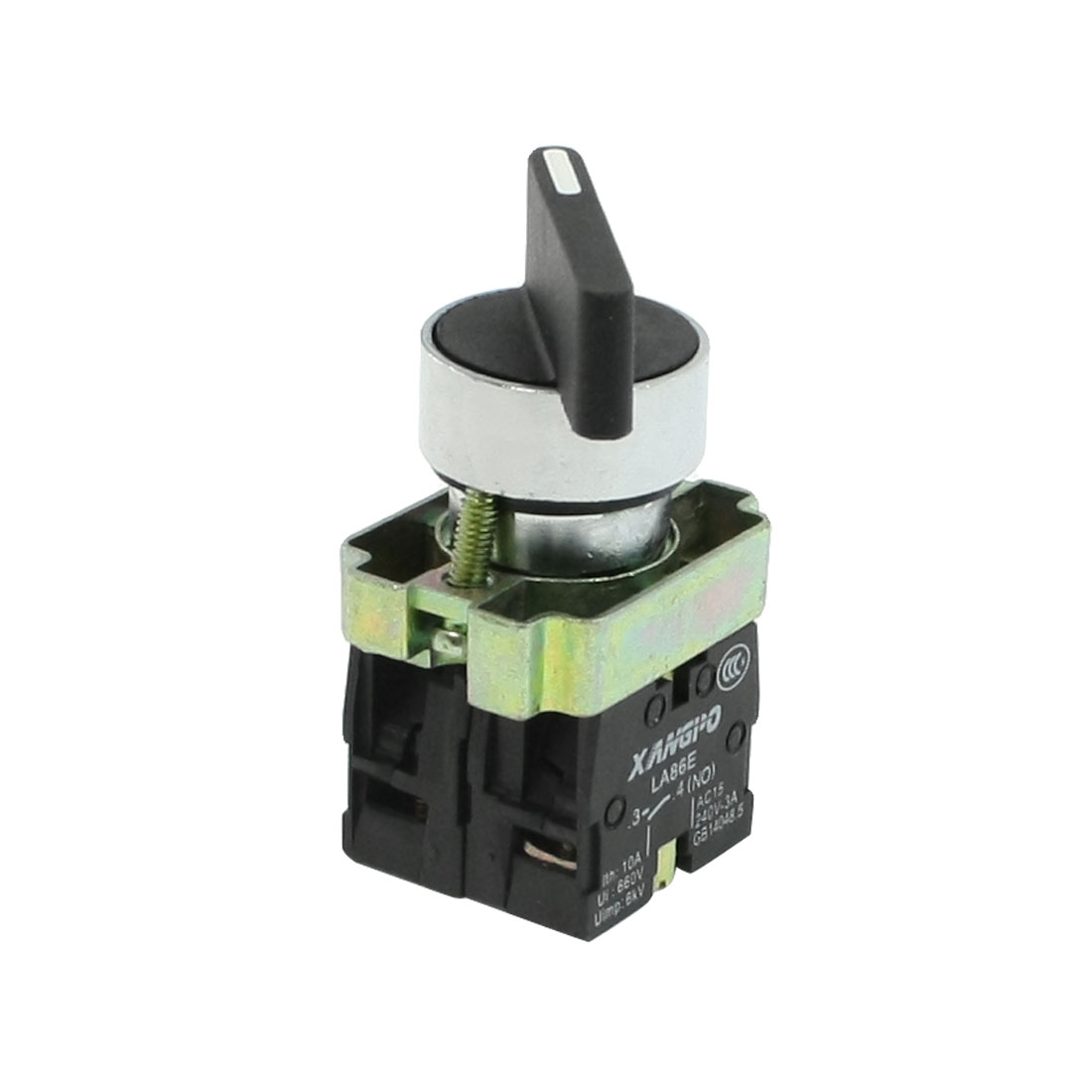 AC240V/3A 1NO 1NC DPST Black Top Selector Self-Locking Rotary Switch
