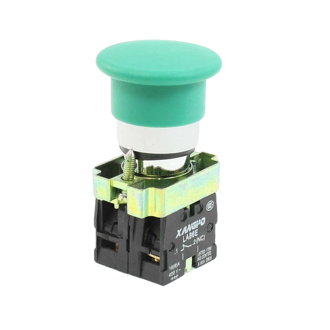 AC660V Ui 10A Ith 1NO 1NC Green Mushroom Head Momentary Push Button Switch