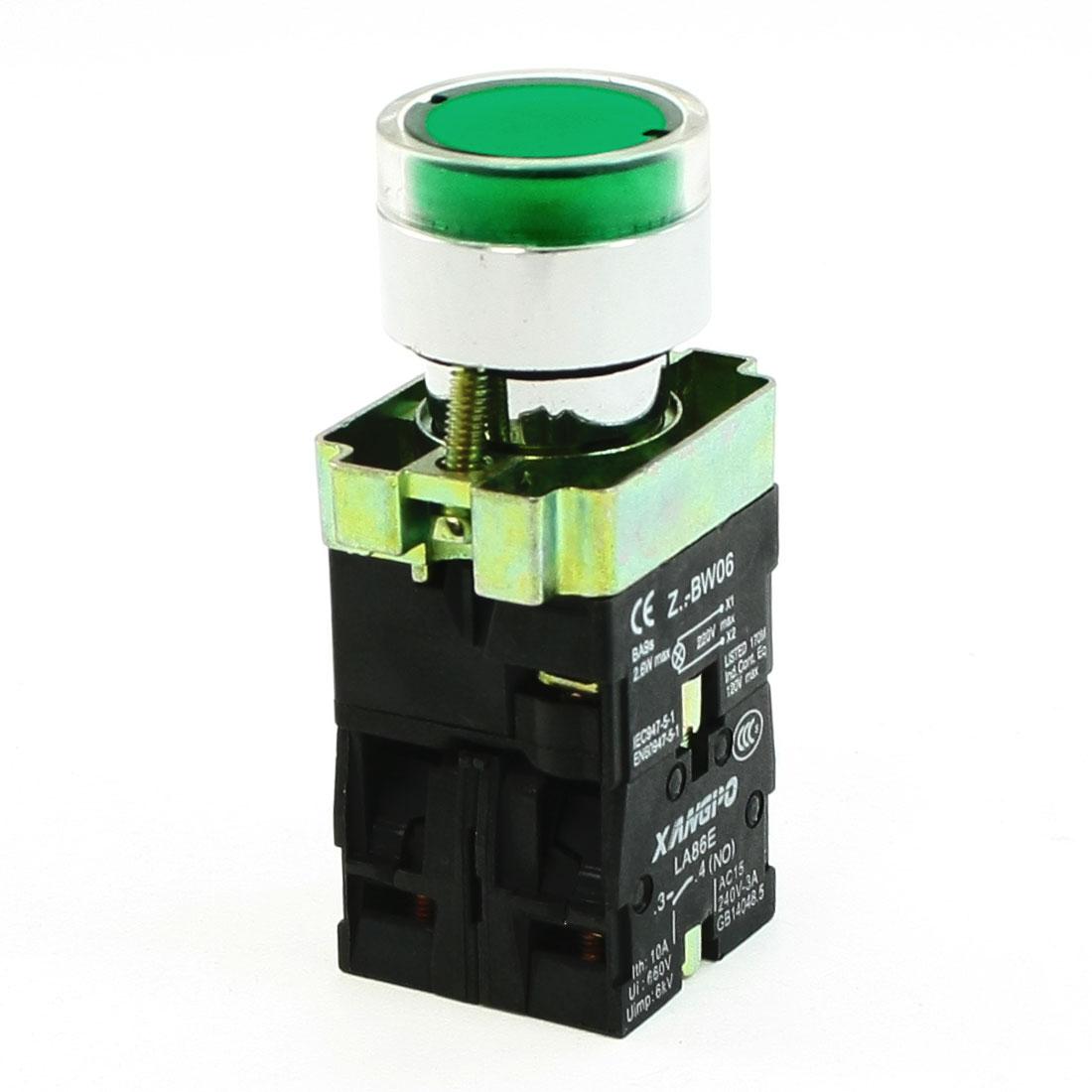 220V AC Indicator Light AC240V 3A 1NO 1NC Green Momentary Push Button Switch